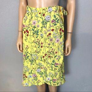 Ann Taylor Loft Wrap Skirt Yellow Floral Print